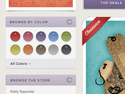Browse By Color texture ui ecommerce script green orange purple red
