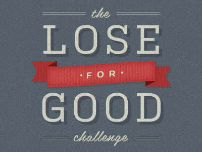 The Lose For Good Challenge vintage texture script ribbon grey red beige distressed kulturista belinda