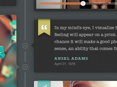 Ansel Adams Quote texture quote blog themefoundry timeline pictos american typewriter rokkitt helvetica yellow green blue orange