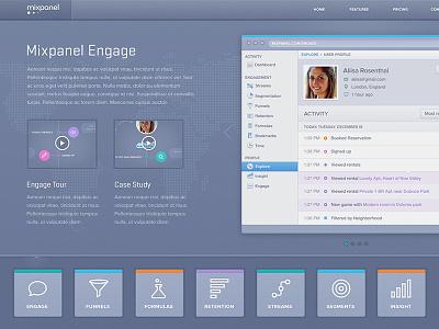 Mixpanel Feature Page Concept mixpanel analytics texture browser chrome web app blue grey stratum proxima nova