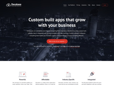 Decabase UI webdesign call to action bootstrap faq about landing page services testimonials company web design uxui ux ui simple flat clean modern