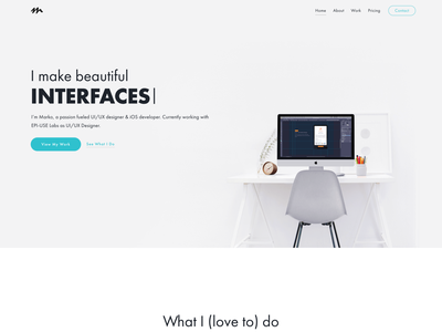 Portfolio Site - Home Page wordpress html designer freelance freelancer services work projects personal homepage landing page home page uxui ux ui webdesign web design site portfolio