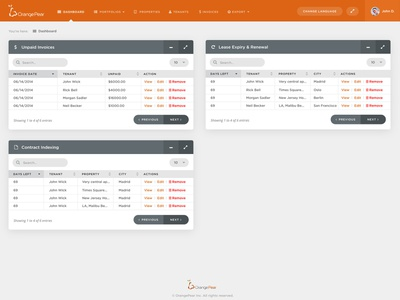 OrangePear Dashboard UI web design webapplication web app web  design uxui ui ux table sorting pagination orangepear navigation menu home flat dashboad clean
