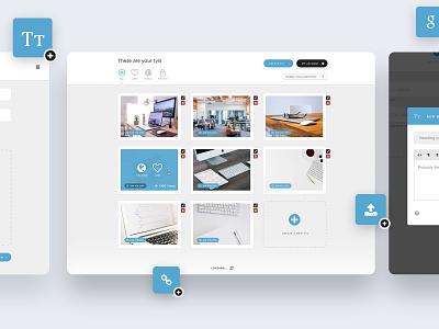 Tylio Website Builder edit steps homepage landing page drag and drop dragndrop modal tabs grid editor wysiwyg uxui ui ux webdesign web design clean tylio