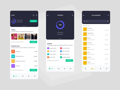 Files Manager mobile concept clean ios android app interface simple vibrant ux ui minimal