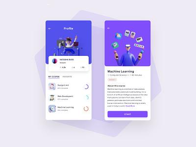 Course App course application design app ux uiux simple mobile minimal concept ui