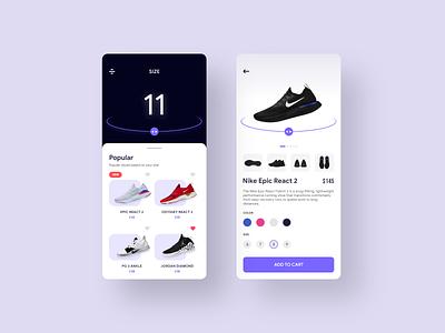 Sneaker Shopping sneaker nike shoes addidas nike clean design app ux uiux simple mobile minimal concept ui