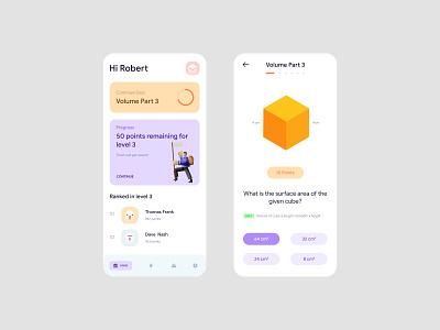 Math Quiz study quiz math application design app ux simple mobile uiux minimal concept ui