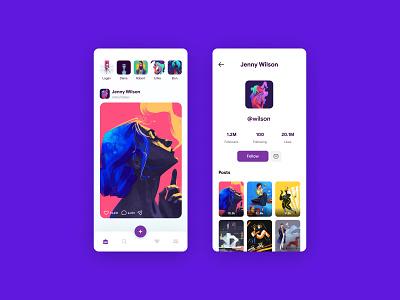 Social Media Concept social media media social new application design app ux simple mobile uiux minimal concept ui