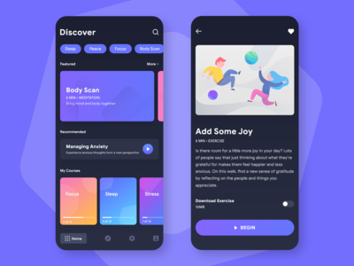 Meditation Application UI
