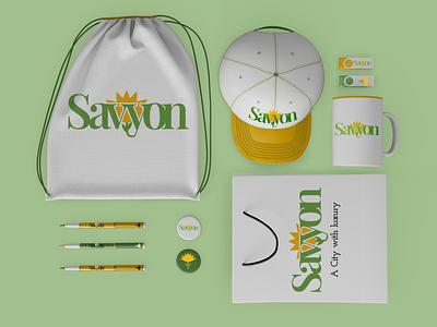 Savyon City Logo Merch Project wordmarks wordmark flower yellow and green merchandise vector branding logo design illustration graphic design