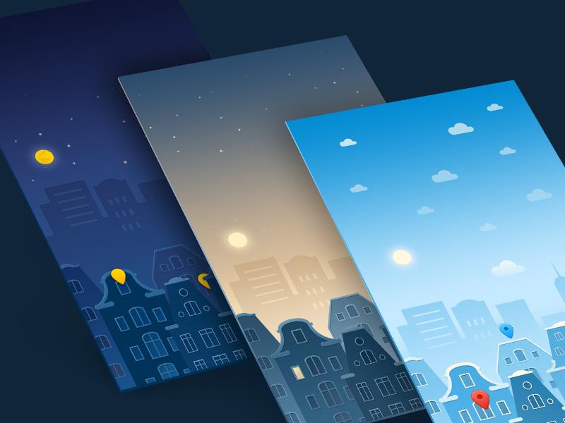 Background illustration wallpaper vector walkthrough flat icon app illustration design ui background city cloud