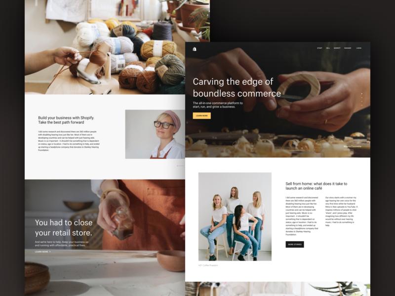 Carving the edge of commerce shopify shop commerce community maker website web design landing marketing ui web ux creative direction