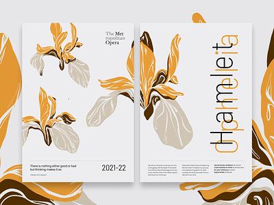 Hamlet and Ophelia vector adobe fresco fresco visual design floral flower graphic design poster illustration design