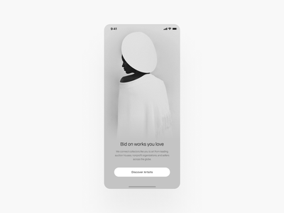 Discover NFT Artists black and white typography minimalism discover artist community nft art graphic design mobile ux app ui design