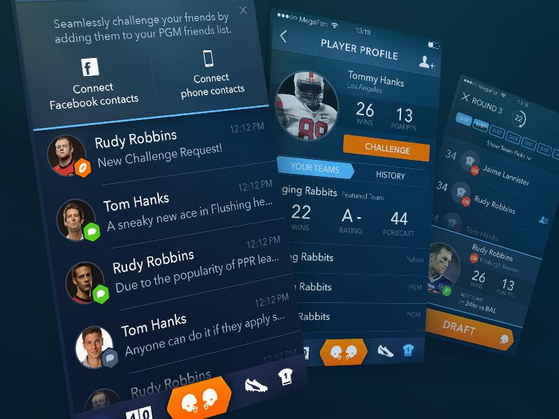 Fantasy Football App  app design ui ux development mobile ios iphone sport football sketchapp
