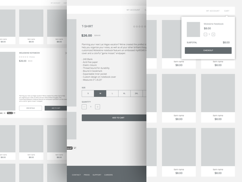 Store Wireframes mockup design product details shopping cart wireframe quick view commerce shop store