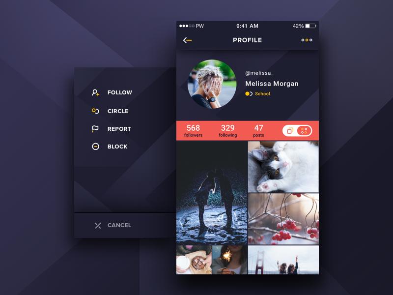 Profile screen profile side out menu design mobile user material grid ux ui app photo