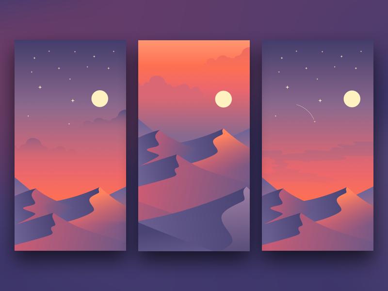 Desert Background sunset vector desert sketch mataerial art graphic icon illustration background design ui