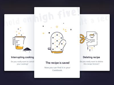 App alerts. Round 2 popup notification cooking recipe design alert icon card illustration vector ui app