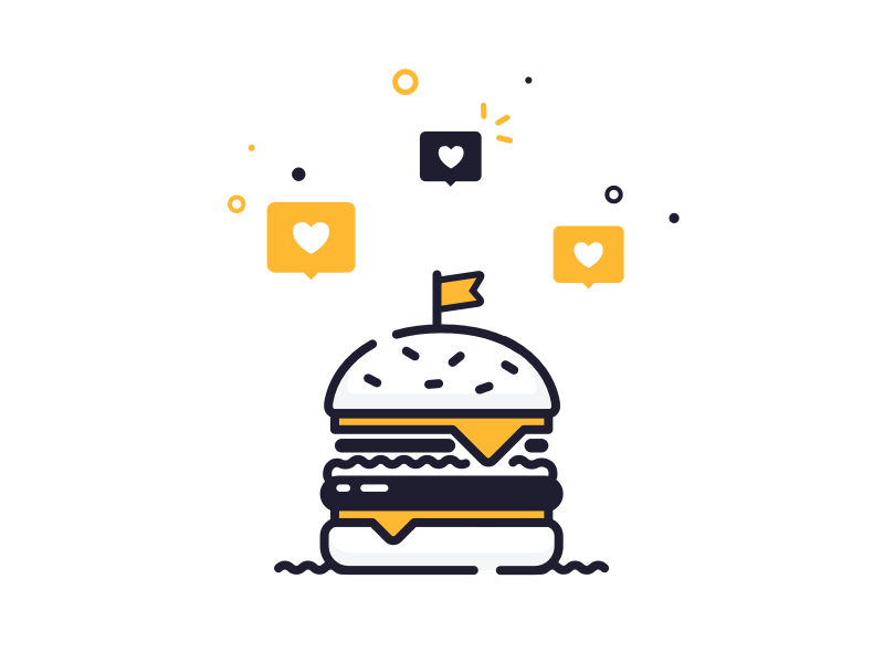 I've got my eyes on a prize! notification heart icon alert mobile design graphic ui app vector illustration burger