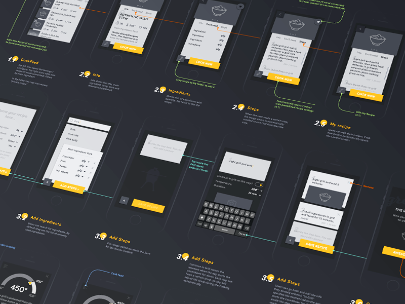 Cooking app wireframes cooking iot flow screen prototype mobile mockup wireframe app design ux ui