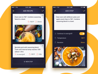 Creating Recipe app screens