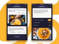 Creating Recipe app screens iot iphone interface flat dark design ux ui cooking recipe mobile app