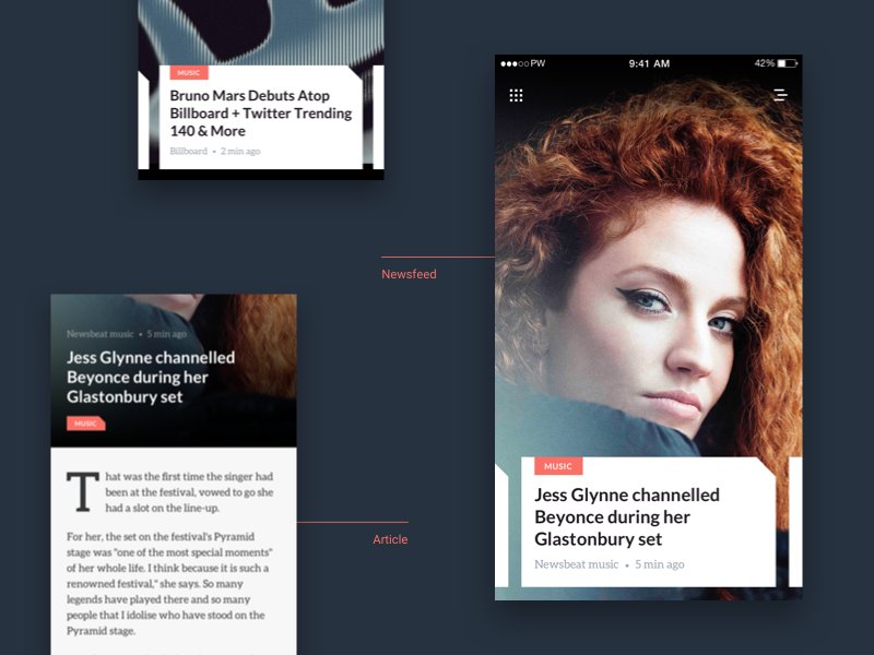 News app blog typography dark tag ui article design music feed app news
