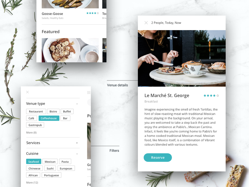 Restaurant booking app sort filter search reservation cafe restaurant booking design app saas mobile ios