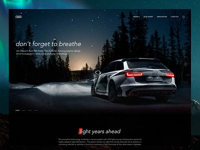 Audi RS6 Landing page sport car adobe xd dark clean ui audi landing site page web design car
