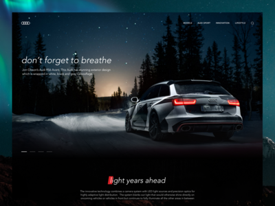 Audi RS6 Landing page sport car adobe xd dark clean ui audi landing site page web design car