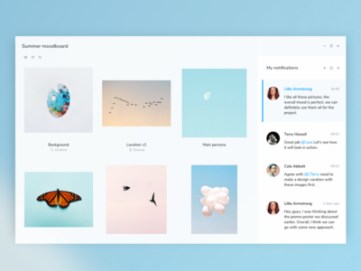 Ms Fluent Design website webpage mood board chat message notification project neon os ui fluent design microsoft minimal