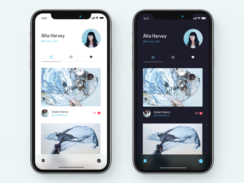 Profile screen photo grid mobile minimal ios11 iphonex screen ui light dark profile