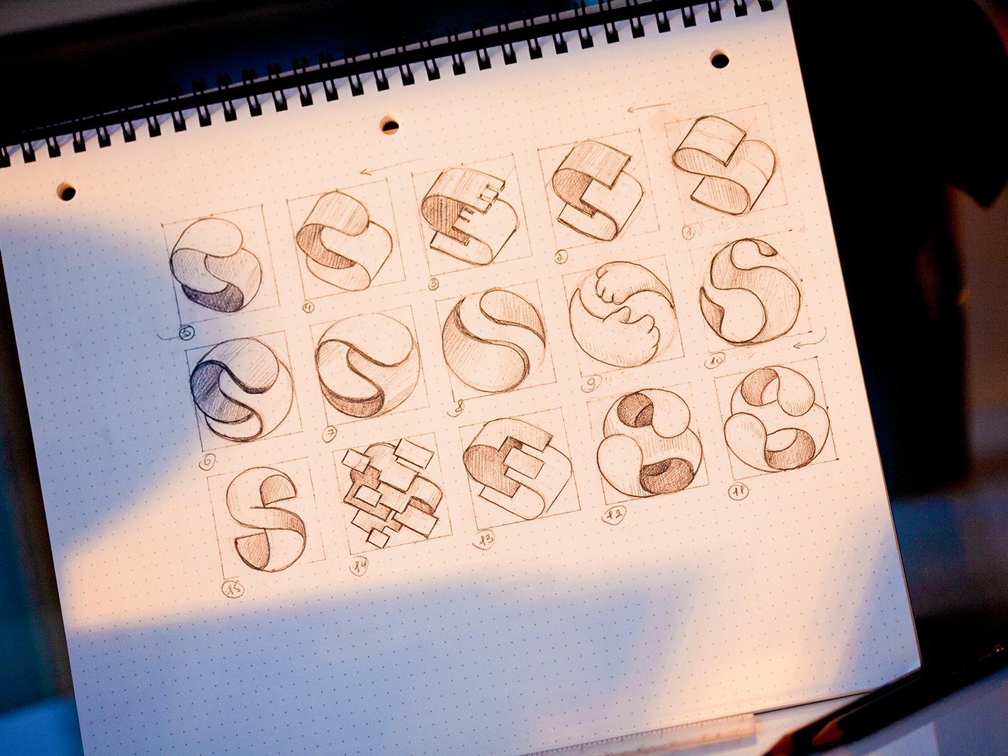 S logo sketches concept pencil paper start s photo sketch drawing illustration logo design