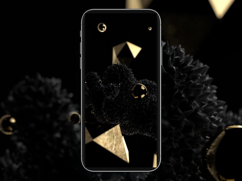 3D test wallpaper phone 3d art black gold render abstract cinema 4d 3d