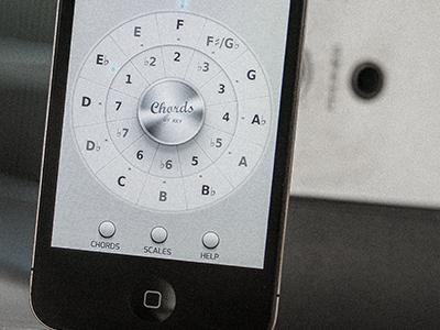 Guitar App (theory wheel) navigation guitar music iphone app ui ios chord amplifier guitar! mobile interface wheel circle button mode key metal 3d photo mobile
