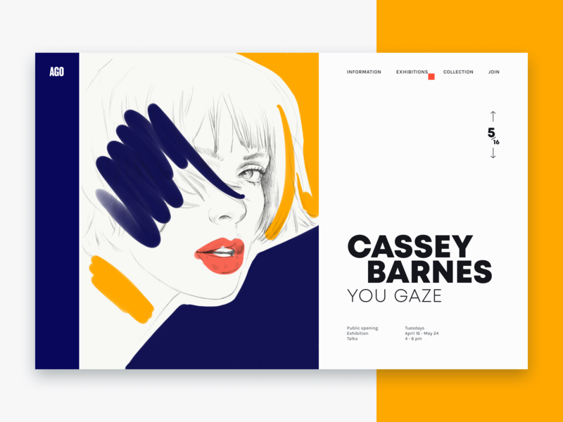 Exhibition page typography art blue woman ui yellow drawing face page web illustration design
