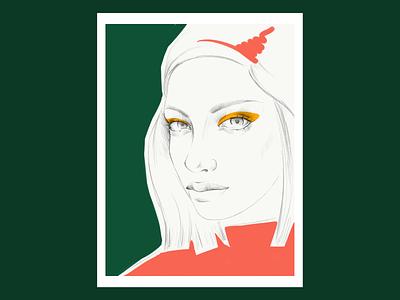 Portrait series. No.2 digital pencil green red minimalism graphics sketch adobe sketch ipad pro portrait art illustration