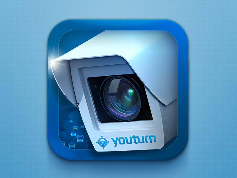 YouTurn app icon traffic app mobile ios iphone icon camera road car lens city 3d ipad illustration russia spb appstore