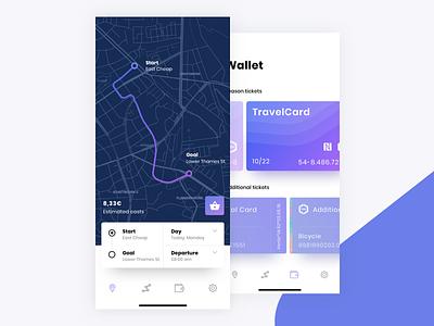 Route Planning App train wallet color gradient ux widget user interface traffic route navigation flat destination