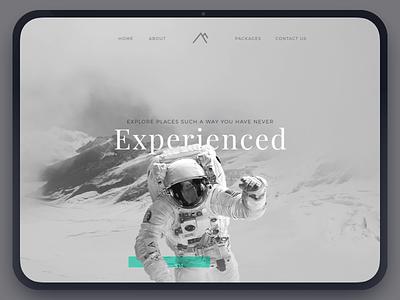 Travel experience exploration banner hero website sketch ui ux exploration fun