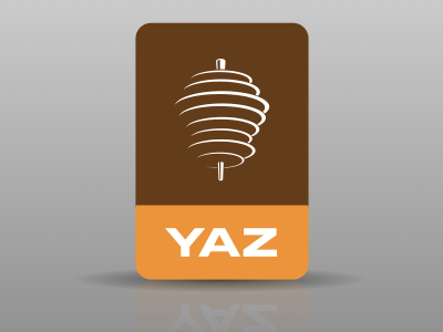 YAZ corporate identity logo restaurant brown orange eurostile rotation oriental branding
