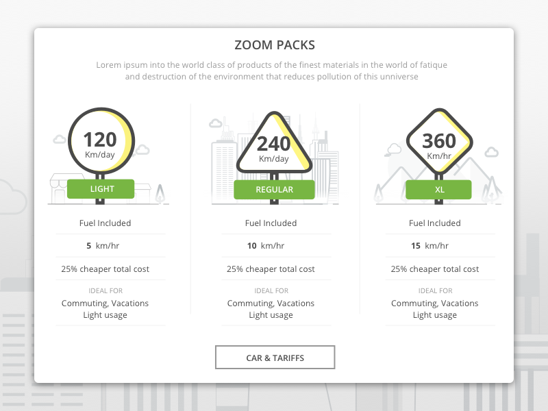 Different Self Drive packs packages plans model compare chart pricing