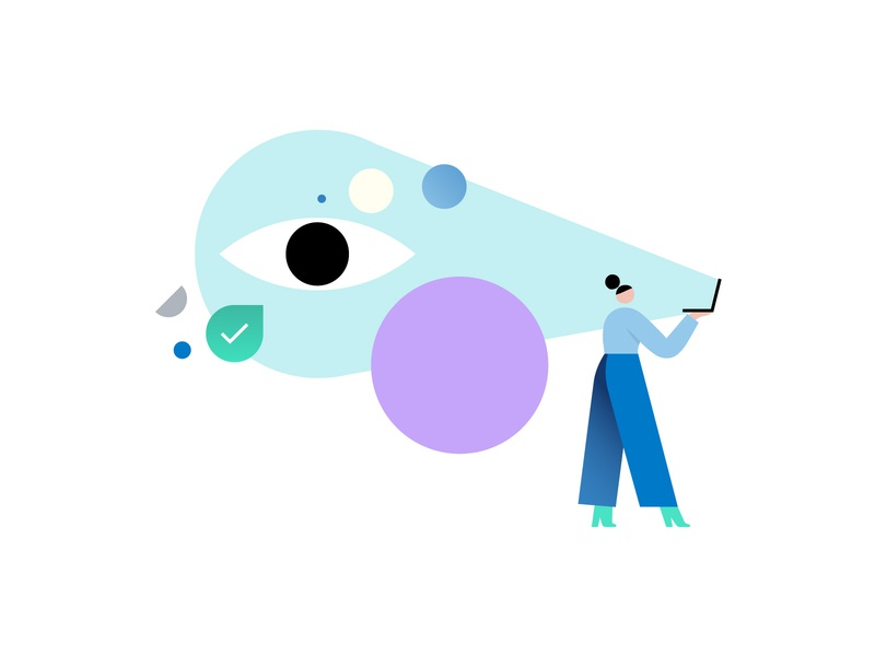 Searching for inspiration! check minimal contrast geometry color watch office computer character design eye character design shapes illustration illo