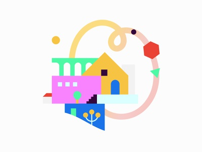 Gradient houses house illustration color palette geometry minimal contrast color gradient city illustration art house design vector shapes illustration illo