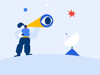 Cosmic travellers flat illustration geometric geometry explore discover flag planet universe star space astronaut character design flat vector design character shapes illustration illo