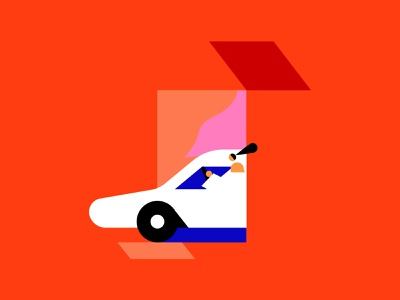Colorful ride design adventure girl driving license driving drive car share ride car flat color character shapes illustration illo