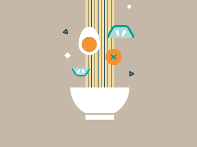 Preparing a noodle bowl food noodle nutrition charity egg tomato cucumber cooking flat illustration motion graphics italy