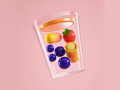 3D fruit salad animated gif yummy 3d illustration food korean food fruit salad motion geometry shapes gif 3d artist 3d animation 3d art 3d animation illotv illustration illo